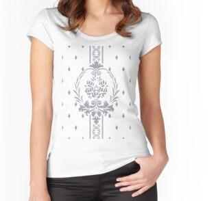 Rosenbouquet Grau Tailliertes Rundhals-Shirt