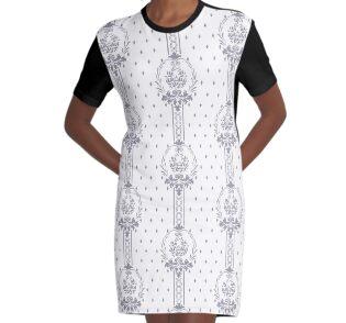 Rosenbouquet Grau T-Shirt Kleid