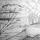 The Danube and A Boat a pencil drawing by Dennis Melling