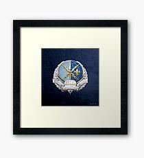 Special Operations Weather Team - SOWT Badge over Blue Velvet Framed Print