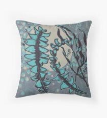Linocut Banksia Leaves Throw Pillow
