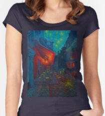 Cafe Terrace at Night Women's Fitted Scoop T-Shirt