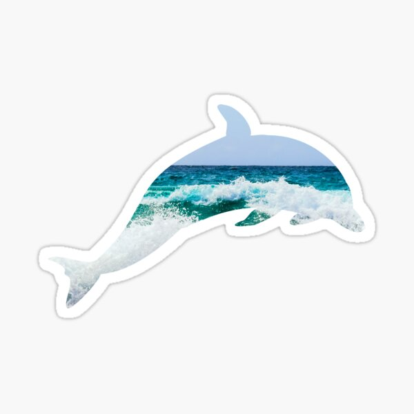Dolphin Diving Through the Waves Sticker