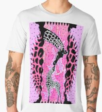 Mother and Baby Giraffes in Pink and Polk-a-dots Men's Premium T-Shirt