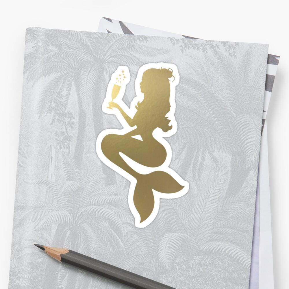 Goldene Meerjungfrau trinken Sticker
