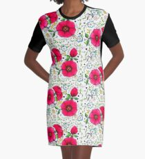 Pink Poppies and Flourishes Design Graphic T-Shirt Dress