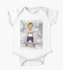 Asian skater boy with topknot on skateboard with graffiti background. One Piece - Short Sleeve
