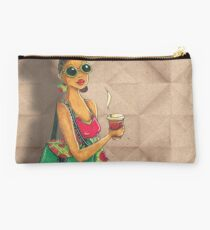 Modern African woman- Morning coffee Studio Pouch