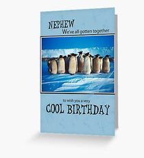 Nephew Birthday Penguins, From Us, Group Greeting Card