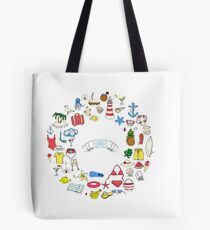 Summer symbols hand darwn wreath! Tote Bag