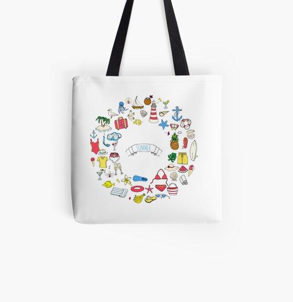 Summer symbols hand darwn wreath! All Over Print Tote Bag
