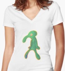 High Res Bold & Brash Repaint Silhouette Women's Fitted V-Neck T-Shirt