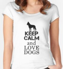 Keep Calm and Love Dogs black Women's Fitted Scoop T-Shirt
