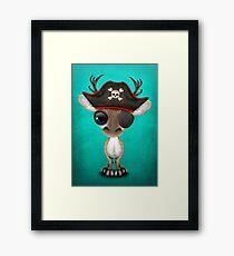 Cute Baby Reindeer Pirate Framed Print