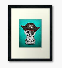 Cute Baby Snow Leopard Cub Pirate Framed Print