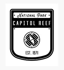 Capitol Reef National Park Badge Design Photographic Print