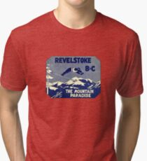Revelstoke BC Ski Mountain Paradise Vintage Travel Decal Tri-blend T-Shirt