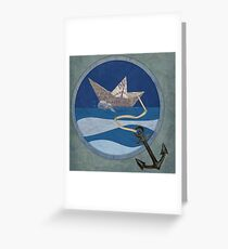 Boat, anchor and paper materials Greeting Card