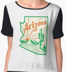 Arizona Cactus Vintage Travel Decal Chiffon Top