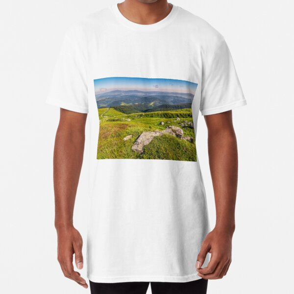 meadow with boulders in Carpathian mountains in summer Long T-Shirt