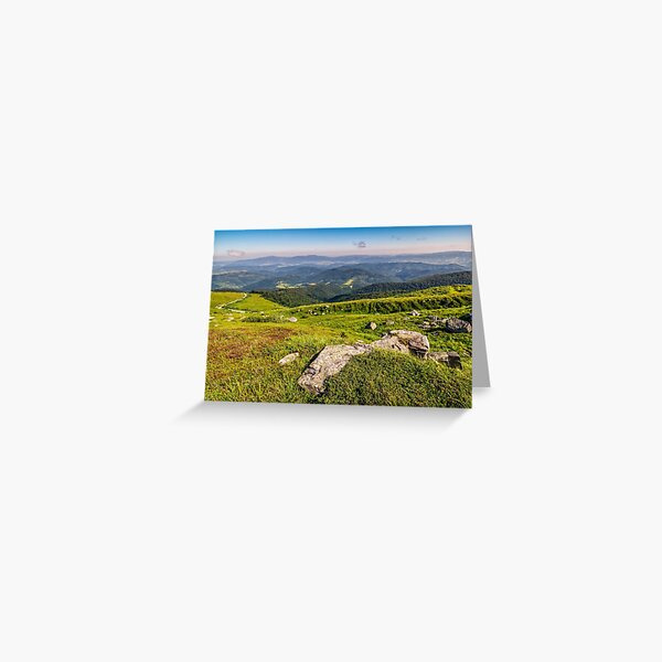 meadow with boulders in Carpathian mountains in summer Greeting Card