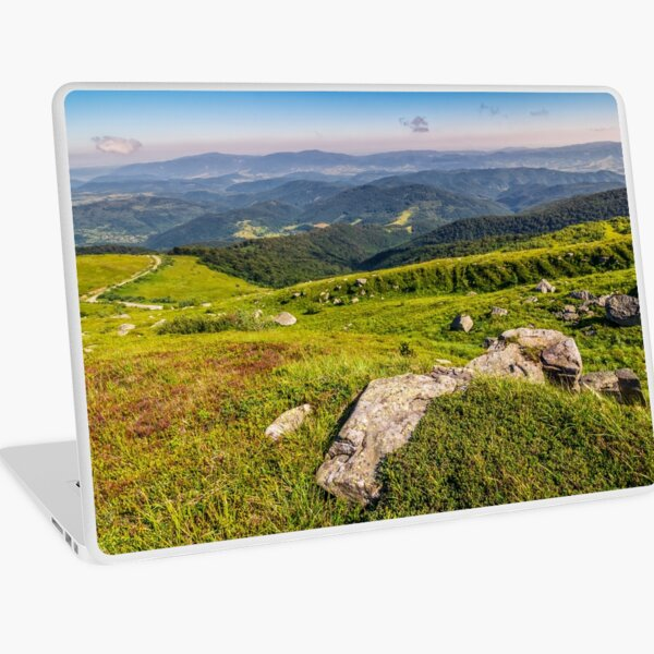 meadow with boulders in Carpathian mountains in summer Laptop Skin