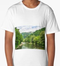 River among the forest in picturesque Carpathian mountains in summer Long T-Shirt