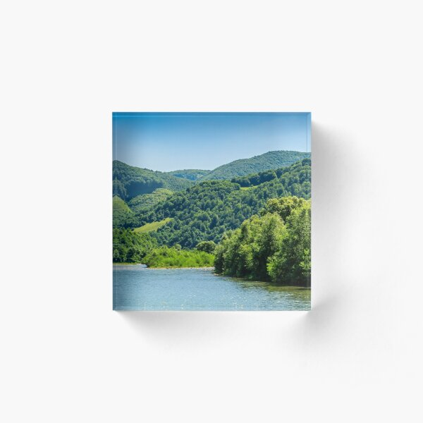 River among the forest in picturesque Carpathian mountains in summer Acrylic Block