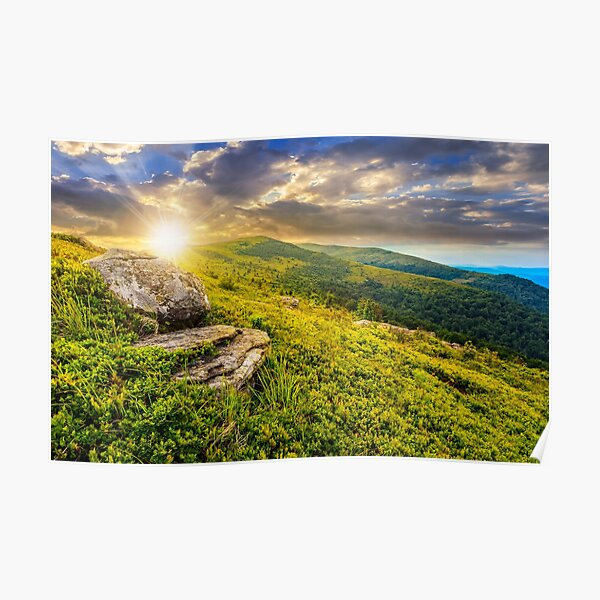 meadow with boulders in Carpathian mountains in summer Poster
