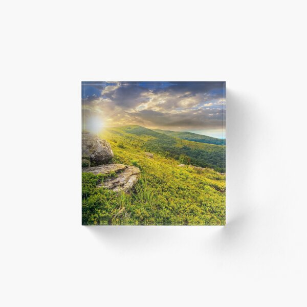 meadow with boulders in Carpathian mountains in summer Acrylic Block
