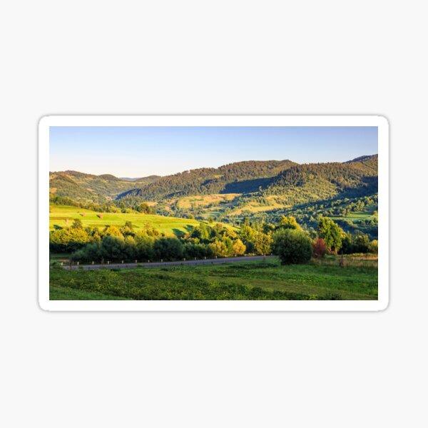 agricultural fields on hills sunrise Sticker