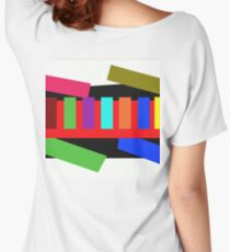 Multi-color Rectangle Design Women's Relaxed Fit T-Shirt