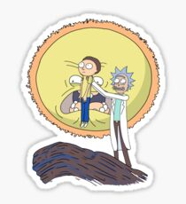 rick and morty moon Sticker