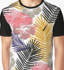 Tropical Hibiscus - White Graphic T-Shirt