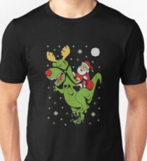 T-Rex and Santa Funny Unisex T-Shirt