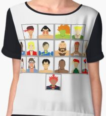 Select Your Character - Super Street Fighter 2 Turbo Women's Chiffon Top