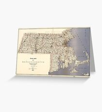 Road Map of Massachusetts (1922) Greeting Card