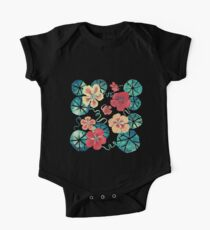 Watercolor Nasturtiums: In the Still of the Night One Piece - Short Sleeve