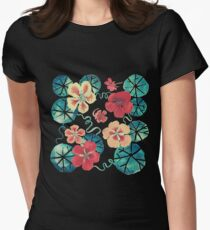 Watercolor Nasturtiums: In the Still of the Night Womens Fitted T-Shirt