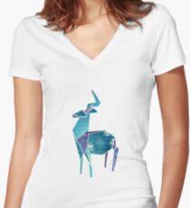 Geometric Deer Women's Fitted V-Neck T-Shirt