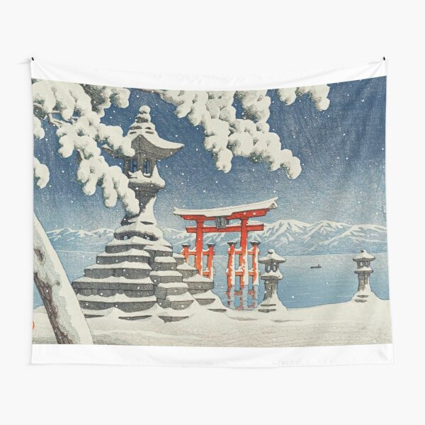 Japanese Print - The red torii - Kawase Hasui - 1932 Tapestry
