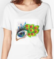 Peacock feather eyelashes Women's Relaxed Fit T-Shirt