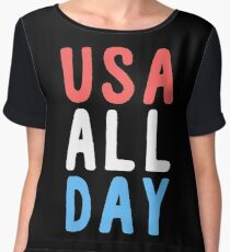 usa all day - fourth of july Women's Chiffon Top