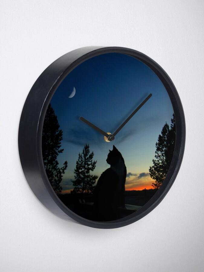Alternative Ansicht von Krieger Katzen - Silhouette Uhr
