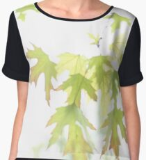 Spring Silver Maple Leaves Chiffon Top