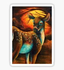 """""""Quick Fawn II""""; Acrylic, Canvas, Surreal Sticker"""