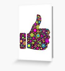 colorful floral thumbs up Greeting Card
