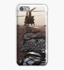 Marines attach sling loads to the body of an Army CH-47 Chinook cargo helicopter. iPhone Case/Skin