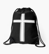 Cross, Christian, Crucifix, Religeon, Belief, Crucifixion, Christianity, Jesus, Lord, White on Black. Drawstring Bag