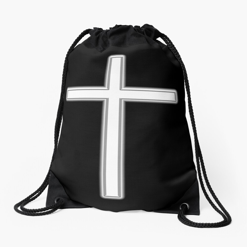 Cross, Christian, Crucifix, Religeon, Belief, Crucifixion, Christianity, Jesus, Lord, White on Black Turnbeutel